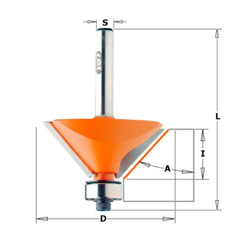 Фрезер за скосяване CMT D=22.2мм L=55мм I=10мм А=25° S=8мм Z=2, за дърво, HW, RH, с лагер - big, 21747