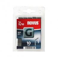 Кламери NOVUS 11/10мм, тип 11/G, плоска тел, 600бр/блистер