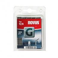 Кламери NOVUS 11/8мм, тип 11/G, плоска тел, 1200бр/блистер