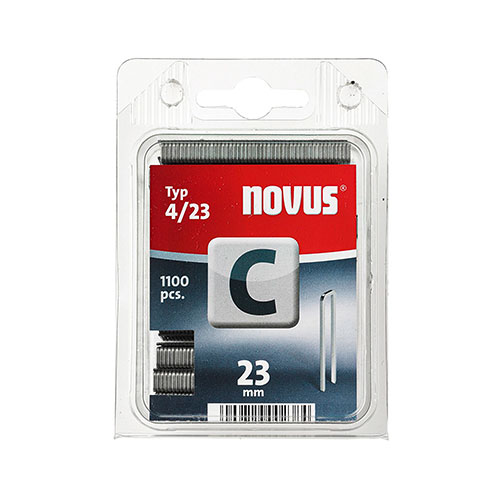 Кламери NOVUS 4/23мм, тип 4/C, с тесен гръб, 1100бр/блистер
