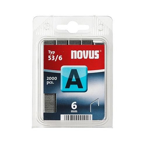 Кламери NOVUS 53/6мм, тип 53/A, тънка тел, 2000бр/блистер