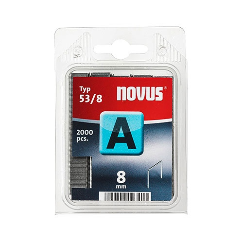 Кламери NOVUS 53/8мм 2000бр., тип 53/A, тънка тел, блистер