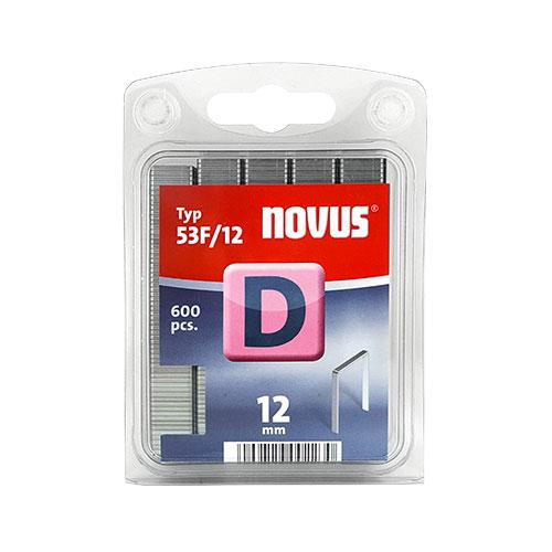 Кламери NOVUS 53F/12мм, тип 53F/D, плоска тел, 600бр/блистер