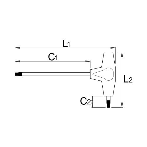 Отвертка Т-образна UNIOR TX45 223мм, двустранна, закалена, CrV, еднокомпонентна дръжка - big, 17763