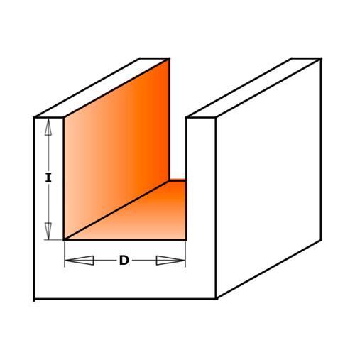 Прав фрезер CMT D=22мм I=20мм L=57мм S=8мм Z=2, HW, RH - big, 18706