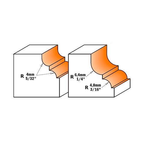 Профилен фрезер CMT D=28.7мм R=4мм R1=4мм I=13мм S=8мм Z=2, HW, RH - big, 19255