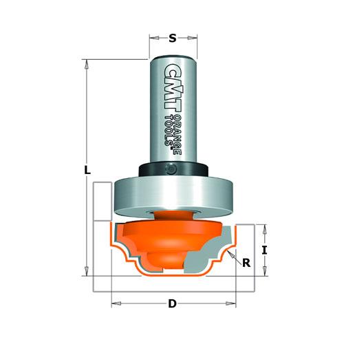 Профилен фрезер CMT D=31.7мм L=58мм R=4мм I=13мм S=12мм Z=2, HW, RH - big, 19264