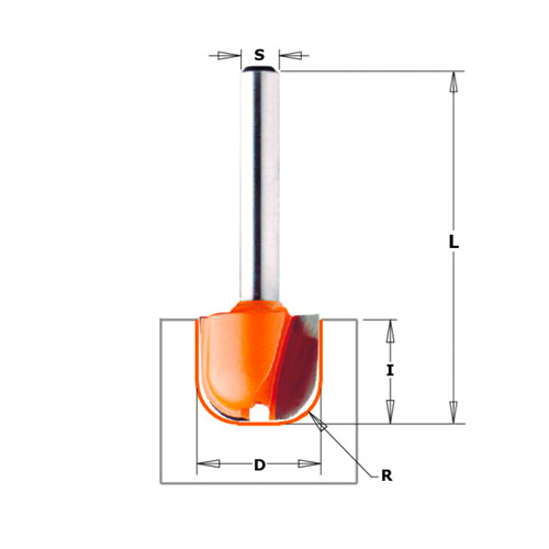 Профилен фрезер CMT D=31.7мм L=60мм R=6.4мм I=16мм S=12мм Z=2, HW, RH - big, 19485