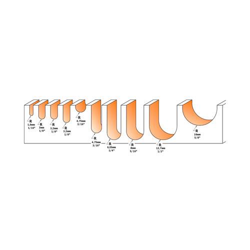 Профилен фрезер CMT D=9.5мм L=51мм R=4.75мм I=6.4мм S=8мм Z=2, HWM, RH - big, 18842