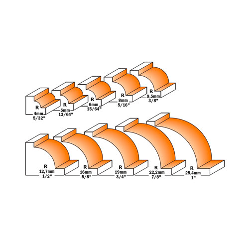 Радиусов фрезер CMT D=21мм L=44мм I=12мм R=5мм S=8мм Z=2, HW, RH - big, 21576