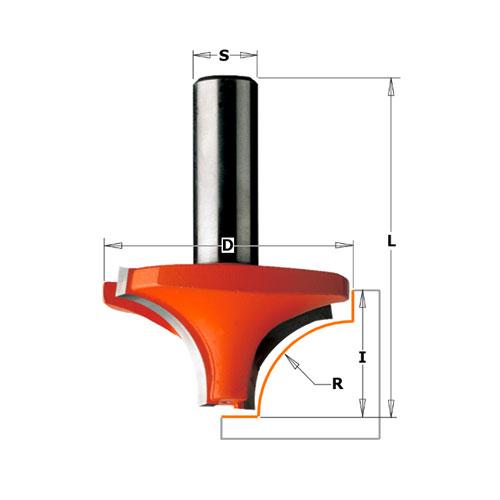 Радиусов фрезер CMT D=31.7мм L=48мм I=14мм R=9.5мм S=8мм Z=2, HW, RH - big, 21667