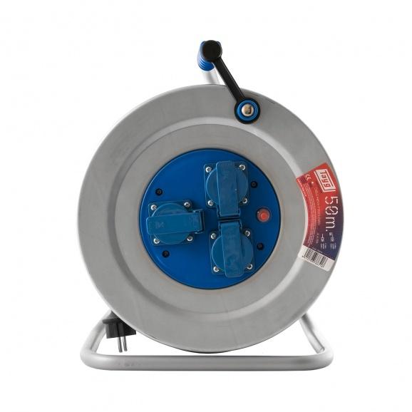 Удължител на макара TAYG Metal 50м, 3х2.5, H05VV-F, 3 монофазни контакта, IP55