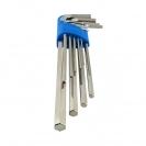 Ключ шестограм Г-образен удължен UNIOR 1.5-10мм 9части, CrV, закален, никелирани - small, 101013
