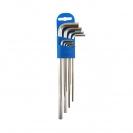 Ключ шестограм Г-образен удължен UNIOR 1.5-10мм 9части, CrV, закален, никелирани - small