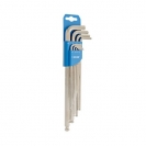 Ключ шестограм Г-образен удължен UNIOR 1.5-10мм 9части, CrV, закалени, никелирани, с ябълка - small