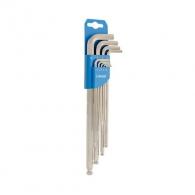 Ключ шестограм Г-образен удължен UNIOR 1.5-10мм 9части, CrV, закалени, никелирани, с ябълка