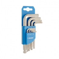 Ключ шестограм Г-образен UNIOR 1.5-10мм 9части, CrV, закален, никелиран, с ябълка