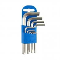Ключ шестограм Г-образен UNIOR 1.5-10мм 9части, CrV, къси, закален, никелирани