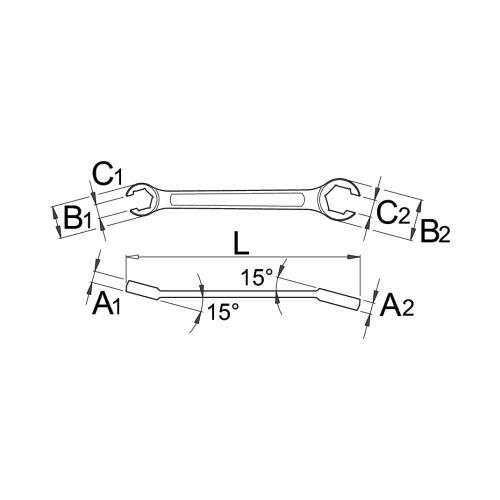 Ключ специален рязан UNIOR 11-13мм, CrV, закален, хромиран - big, 29486