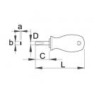 Отвертка плоска UNIOR 1.2х6.5х85/25мм, къса, CrV-Mo, еднокомпонентна дръжка - small, 87175