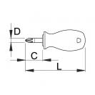 Отвертка кръстата UNIOR PH2 6.0х85/25мм, закалена, къса, CrV-Mo, еднокомпонентна дръжка - small, 87167