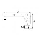 Отвертка шестостен с ябълка Т-образна UNIOR 2.5х155мм, двустранна, хромирана, CrV, еднокомпонентна дръжка - small, 16312