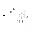 Отвертка торкс Т-образна UNIOR TX 9 155мм, двустранна, закалена, CrV, еднокомпонентна дръжка - small, 14627