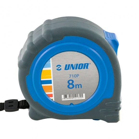 Ролетка пласмасов корпус UNIOR 710P 8м х 25мм, гумирана, двоен стоп, EC-клас 2