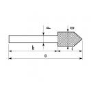 Шлайфгрифер цилиндречен AJAX 11.5x60/30мм, форма A, за дърво, С45, цилиндрична опашка - small, 89123