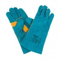 Ръкавици HARPY, от цепена телешка кожа, 35см , сини