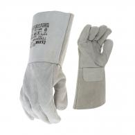 Ръкавици MERLIN, от цепена сива телешка кожа, 15см, подсилена длан