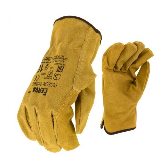 Ръкавици PIGEON, от цепена свинска кожа, 15см , жълти