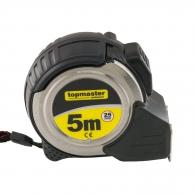 Ролетка метален корпус TOPMASTER 5м x 25мм, с магнит, гумирана