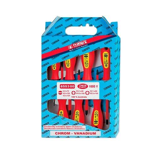 Отвертки комплект NAREX TWIN PLAST ELEKTRO LINE PROFI 7части, 1000V, PH, PZ, SB, двукомпонентна дръжка