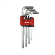 Ключ шестограм Г-образен удължен FORCE 1.5-10мм 9части, CrV, никелирани