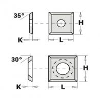 Сменяеми пластини CMT 12x12x1.5мм Z=4, 35°, HWM, F1730-за суха и мокра иглолистна, твърда дървесина