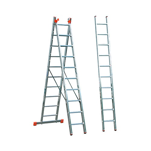 Алуминиевa стълба KRAUSE Tribilo 3х10, 2850/4700/6900мм, трираменна, професионална, 150кг.