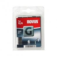 Кламери NOVUS 11/6мм, тип 11/G, плоска тел, 1200бр/блистер