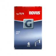 Кламери NOVUS 11/6мм 5000бр., тип 11/G, плоска тел, кутия