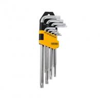 Ключ торкс Г-образен TOPMASTER ТХ10-ТХ50 9части, CrV, с отвор, полирани