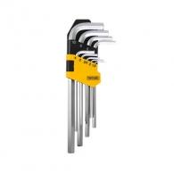 Ключ шестограм Г-образен TOPMASTER 1.5-10мм 9части, CrV, 70-180мм, полирани