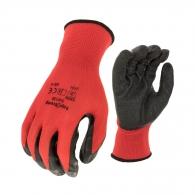 Ръкавици TOPSTRONG, червени, от полиестерно трико, топени в латекс, ластичен маншет