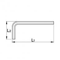 Ключ Г-образен UNIOR 12мм, шестостен, удължен, никелиран, закален, CrV