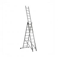 Алуминиевa стълба ELKOP VHR T 3x9, 2472/4032/5332мм(на стълбата), трираменна, професионална, 150кг.