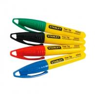 Маркер зидарски STANLEY Fine Tip mini 90мм, цвенове: черен, червен, син и зелен
