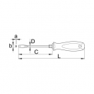 Отвертка плоска с шестограм UNIOR 1.0х5.5х200/100мм, закалена, CrV-Mo, трикомпонентна дръжка - small, 92670