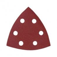 Шкурка велкро MAKITA 94х94х94мм Р240, универсална, с 6 отвора, червена, триъгълна, самозалепваща, 10бр.к-кт