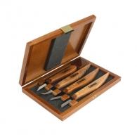 Нож дърворезбарски NAREX Carving tools PROFI 4части, с дървени дръжки, магнезиево-ванадиева инструментална стомана
