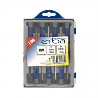 Отвертки комплект за електроника ERBA 7части, PH, SB, двукомпонентна дръжка