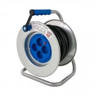 Удължител на макара TAYG Metal 25м, 3х1.5, H05VV-F, 4 монофазни контакта, IP20